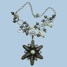 VINTAGE Interesting Necklace with Dark Mother of Pearl and Blue Quartz