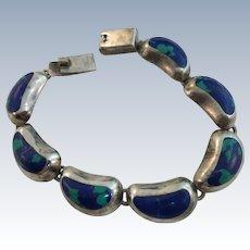 VINTAGE  Azurite Malachite Mexican Made Beautiful Bracelet