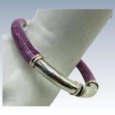 VINTAGE Bangle Sterling Bracelet with Purple Enameling