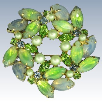 VINTAGE  Kramers of New York Beautiful Brooch Greens and Blues  Out Standing!