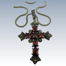 VINTAGE  Sterling Garnet Cross with Marasites Great Sterling Chain