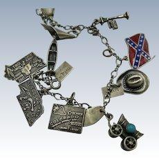 VINTAGE 50's Sterling Charm Bracelet 10 Sterling Charms