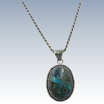VINTAGE  Turquoise Pendant with Thick lovely Sterling Chain