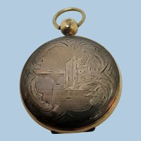 VINTAGE Gold-Filled Locket with tin-types Pictures Silver Sides