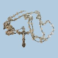 VINTAGE Crystal and Sterling Complete Rosary  Lovely
