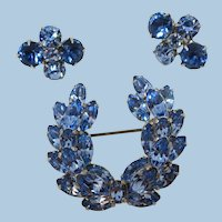VINTAGE Bright  Myrtle Leaf Blue Brooch and Earring  Bright Blue