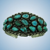 VINTAGE  Timothy Lee 35 Nugget Turquoise Cuff
