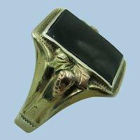 VINTAGE Black Hills Gold Man's Sterling Ring with 10K Gold Decoration  Size 10