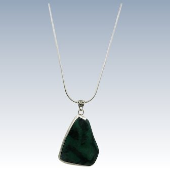 VINTAGE Green Stone Pendant with Silver Frame with 24 Inch Sterling Snake Chain