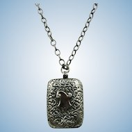 VINTAGE 1900 Silver 900 Locket  and Sterling Chain