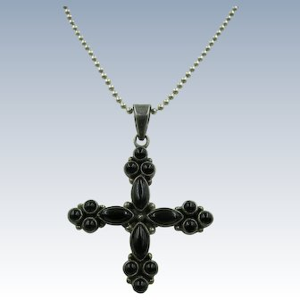 VINTAGE Onyx  Small Cross with Sterling