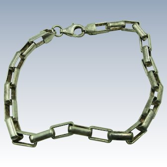 Vintage Large Link Sterling 9 Inch Chain Bracelet  Different