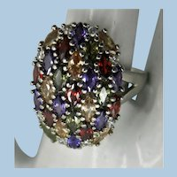 Sterling Striking Many Colors Ring   Size 7