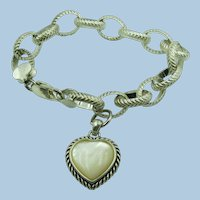 VINTAGE Sterling Large Link Bracelet With Mother of Pearl Heart