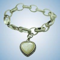 VINTAGE Sterling Large Link Bracelet With Mother of Pearl Heart