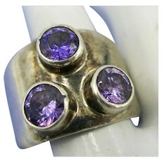 VINTAGE  Mexican Sterling  Silver Ring  3 Amethyst Sets