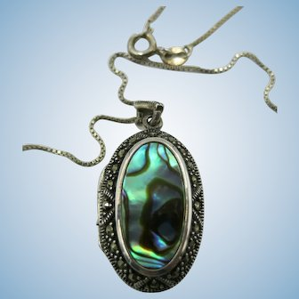 VINTAGE Sterling Locket with Marsasite and Abalone Shell  18 Inches Sterling Chain