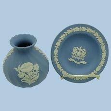 "VINTAGE 2 pieces of Blue Jasperware Wedgwood plate ""City of London""  Morning Glory Vase"