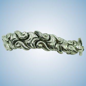 VINTAGE Sterling 3/4 Inch Wide Shiny Bracelet 8 1/4 Inch Long