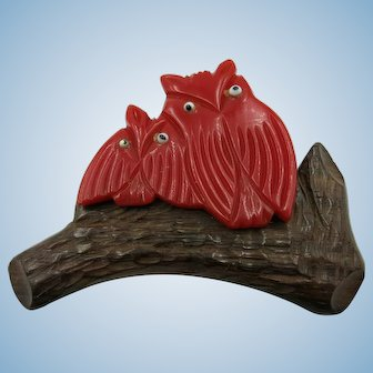 VINTAGE AND RARE Carved Bakelite Owls on Carved Wood