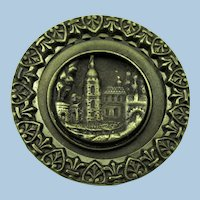 VINTAGE  Large Brass Picture Button  With Great Example of Borders