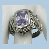 VINTAGE Sterling Light Lilac Gem Ring  Size 8 1/4