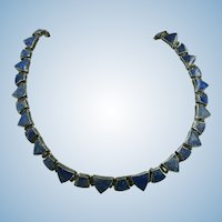 VINTAGE Made by Acleoni Lapis Jointed Choker Necklace  AMAZING