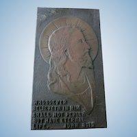 VINTAGE Bronze Plaque of Jesus from Kansas Jesuit School