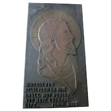 VINTAGE Bronze Plaque of Jesus from Kansas Jesuit School