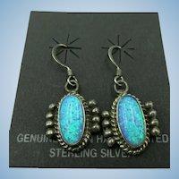 VINTAGE Native American Made Opal Pierced Earrings