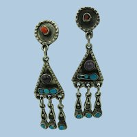 VINTAGE  Mexican Silver Dangling Earrings  2 1/2 Inches long