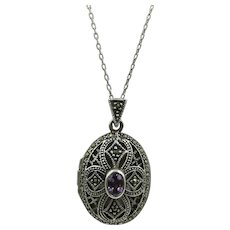 VINTAGE Sterling Oval Marcasite Locket on 23 Inch Sterling Chain