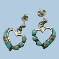 VINTAGE Sterling Turquoise Hearts Earrings