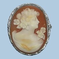 VINTAGE Silver-tone Metal 40's Cameo  1 1/4 Inch High