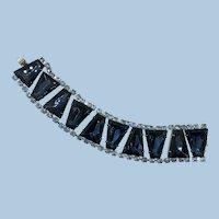 VINTAGE Unsigned Beauty Large Rhinestone Bracelet Blue Blue Blue