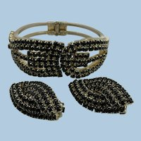 VINTAGE 60'S Black Rhinestone Bracelet and Clip Earrings