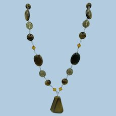 VINTAGE Tiger Eye Stones on Sterling Chain with Yellow Crystals