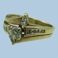 VINTAGE Older 14K Yellow Gold Wedding Set Over 50c TW  Size 7