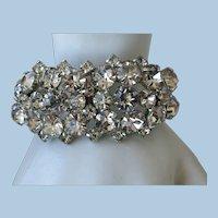 VINTAGE Clamper Rhinestone Bracelet  Stunning!