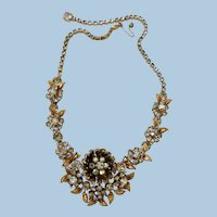 VINTAGE  Gold-tone Rhinestone Necklace