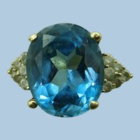VINTAGE Blue Topaz with 12  small CZ  14k Yellow Gold Size 7 3/4