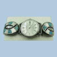 VINTAGE  Zuni Inlaid jewelry with Cut Outs Watch Band