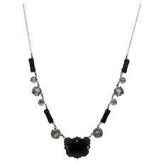 VINTAGE 20'S Necklace Black Glass and silver
