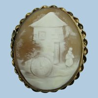 VINTAGE Very Old Rebecca at the Well Cameo Hand Carved  Italy