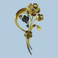 VINTAGE Very Large Vermeil 40's Flower Brooch  Sterling