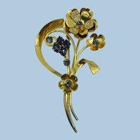 VINTAGE Very Large Vermeil 40's Flower Brooch  Sterling