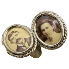 VINTAGE Memorial Cuff Links Photo Mom and Dad  Different