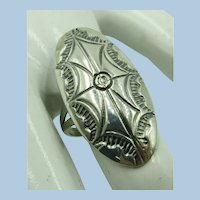 Sterling Nice Ring Rounded Silver Carving  Size tight 5