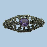 VINTAGE Sterling Brooch with Amethyst Set and Marcsites  Charming
