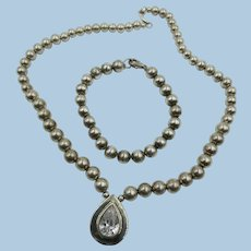 VINTAGE Sterling Bead Necklace and Bracelet with CZ Pendant